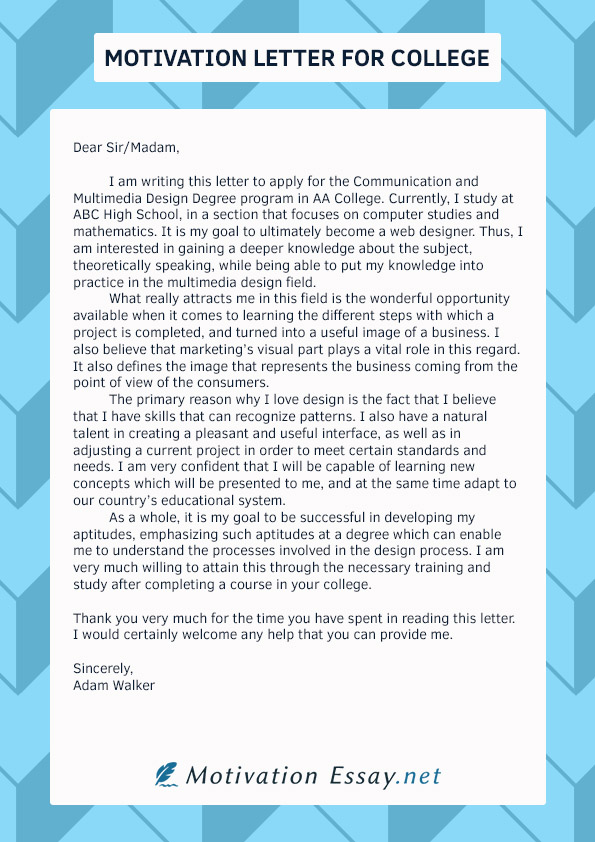 Great Motivation Letter For College Writing Service | Motivation Essay