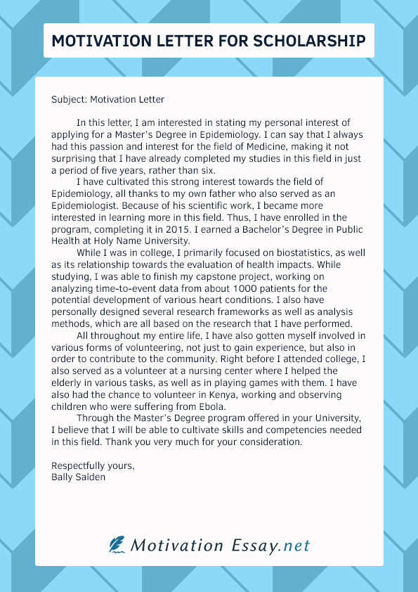 Letter Of Motivation For College 71
