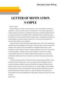 letter of motivation sample